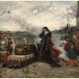"""Doña Juana la Loca ante el sepulcro de su esposo, Felipe """"el Hermoso"""""""
