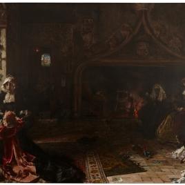 La reina doña Juana la Loca, recluida en Tordesillas con su hija, la infanta doña Catalina
