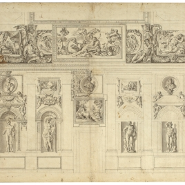 Vista de la Galería Carracci, pared norte, en el palacio Farnese