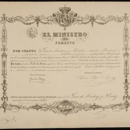 Título de Director de caminos vecinales expedido a favor de Juan de Madrazo el 27 de abril de 1852
