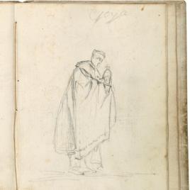 Figura masculina de perfil con manto, portando una custodia
