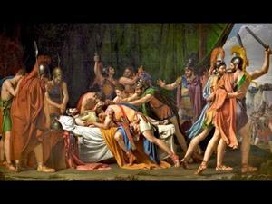 La muerte de Viriato, jefe de los lusitanos de José de Madrazo, con comentarios en latín