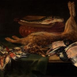 Bodegón: liebre, pájaros muertos y pescados