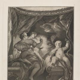 Hércules en la cuna sofocando a las serpientes que le envió Juno para que le matasen