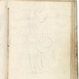 Apunte de niño de medio perfil tocando el tambor