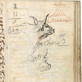 Estudios de cabeza de toro para la alegoría del río Po. Operación aritmética. Lista con el nombre de tres ciudades de la costa sur de Francia