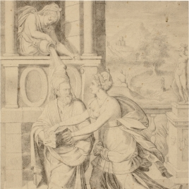 Mujer en una ventana, vertiendo agua de una jarra sobre la cabeza de un anciano con barba, que sostiene con ambas manos un libro abierto, que una joven intenta coger