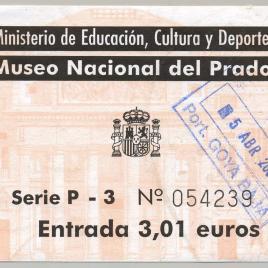 Billete de entrada al Museo del Prado en 2002