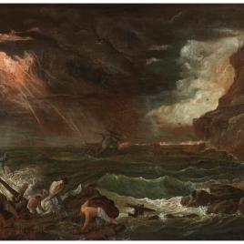 Marina con escena de naufragio