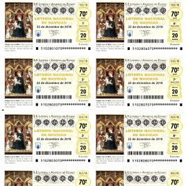 Capilla de billete de Lotería Nacional para el sorteo de 22 de diciembre de 2018