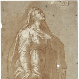 Draped Female Figure [the Virgin at the Foot of the Cross (¿?)]