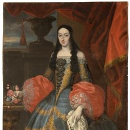 La reina María Luisa, con rosas en la mano derecha
