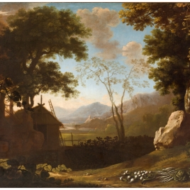 Mountain Landscape with Hut and Vegetables