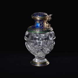 Small rock crystal ewer with a boy, without a handle