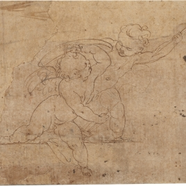 Two putti fighting