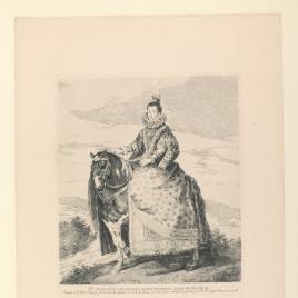 La reina Margarita de Austria, a caballo