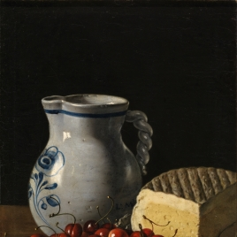 Still Life with a Plate of Cherries, Plums a Pitcher and Cheese