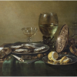 Still Life with a silver tazza, a roemer and oysters