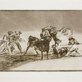 Palenque de los moros hecho con burros para defenderse del toro embolado