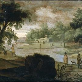 Paisaje con pescadores y caminantes