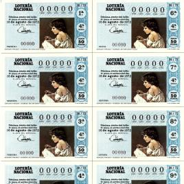 Capilla de billete de Lotería Nacional para el sorteo de 16 de agosto de 1972