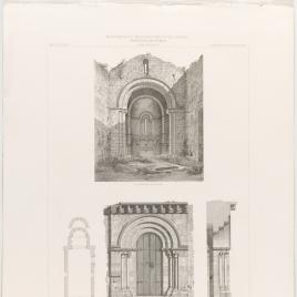 Planta, ábside, portada y detalles de Santa María de Villamayor en Infiesto