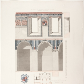 Planta, sección y detalles de la capilla de Santiago en la iglesia de Santa María en Alcalá de Henares