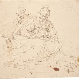 Virgen con el Niño y un angelito