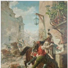 Malasaña y su hija se baten contra los franceses en una de las calles que bajan del parque a la de San Bernardo. Dos de mayo de 1808