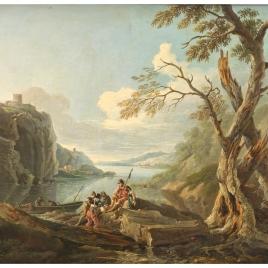 Paisaje con guerreros a la orilla de un río
