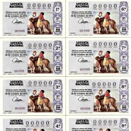 Capilla de billete de Lotería Nacional para el sorteo de 25 de octubre de 1972