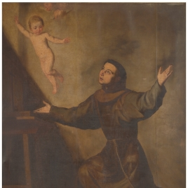 San Antonio arrodillado ante el Niño Jesús