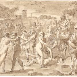 Lucha de mujeres ante un emperador romano