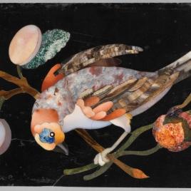 Placa con flores, plantas, pájaros y frutas