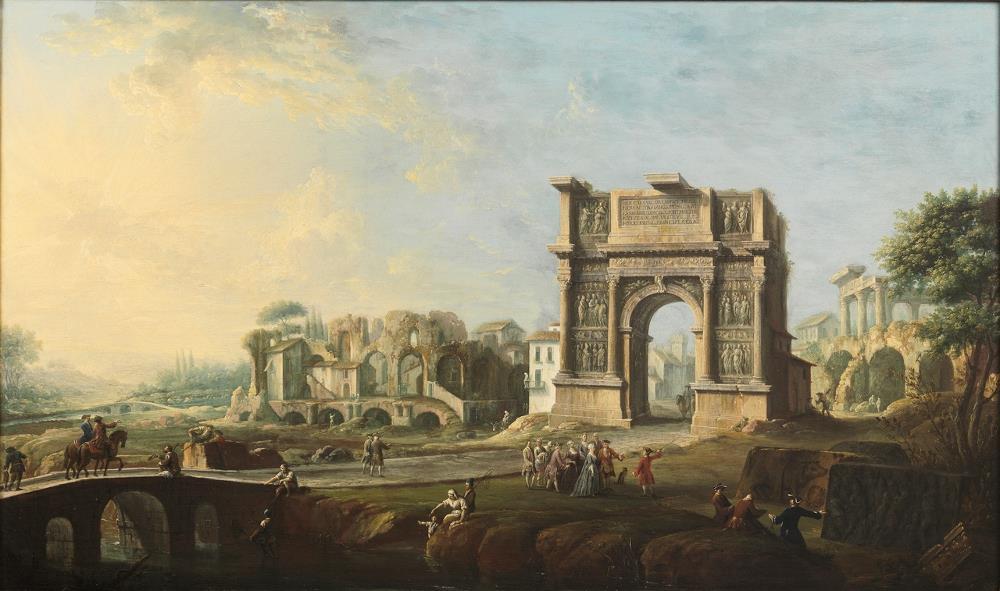 Visita de la reina María Amalia de Sajonia al arco de Trajano en Benevento [Joli]