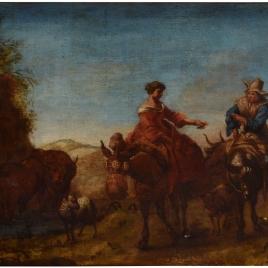 Paisaje con dos personajes a caballo