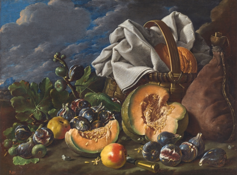 Still Life with Melon, Figs, Apples, Wineskin, and Picnic Hamper in a Landscape