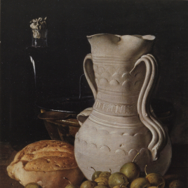 Luis Meléndez [Material gráfico] : bodegones. Bodegón con peritas, pan, cuenco y frasca = Still life with small pears, a loaf, jar and flask] / Museo Nacional del Prado.