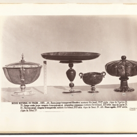 Heliotrope drinking vessel with cover and gold handles, Heliotrope salver with a tall foot, Heliotrope cup in the form of a shell with handles and Gadrooned jasper cup with cover