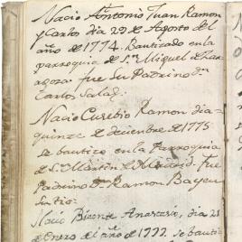 Registro del nacimiento y bautismo de los tres primeros hijos de Goya