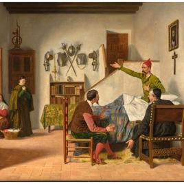 Visita del cura y el barbero a don Quijote