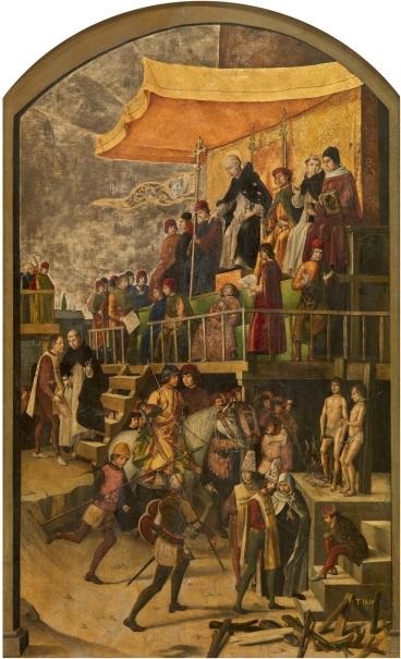 Auto de fe presidido por santo Domingo de Guzmán