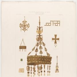 Coronas, ornamentos y cruces visigodas, con la corona de Suinthila, del Tesoro de Guarrazar encontrado en el término de Guadamur, Toledo