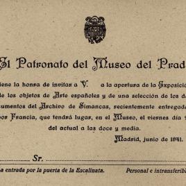 Invitación para la inauguración de la Exposición de los objetos de Arte españoles y documentos del Archivo de Simancas entregados por Francia