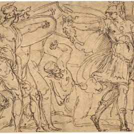 Perseo petrificando a Fineo y a sus guerreros