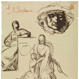 Tobías y el ángel. Figura femenina sentada. Mascarón / Tobías y el ángel