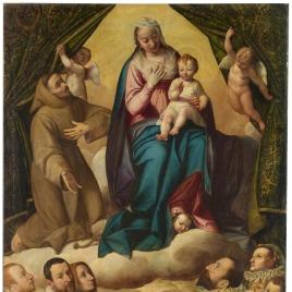 San Francisco intercede ante la Virgen por una familia