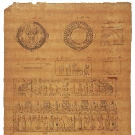 Detalles decorativos y frisos de los templos de Hathor en Dendera, Isis en Filae, Horus en Edfú y Hermópolis, Egipto