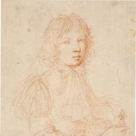 Retrato de joven apoyado en una espada