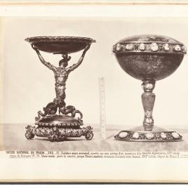 Copa con sirena de oro y copa de jaspe con camafeos y esmeraldas